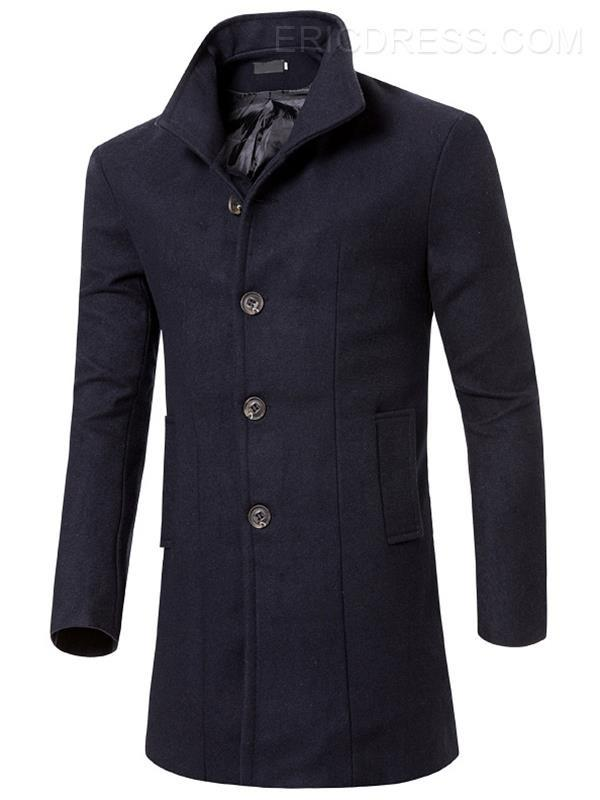 Long Slim Solid Color Men's Trench Coat