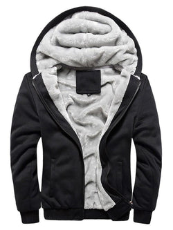 Loose Hooded Zipper Plain Men's Fleece Hoodie