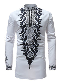 Dashiki Print Long Sleeve Stand Collar Men's Shirt