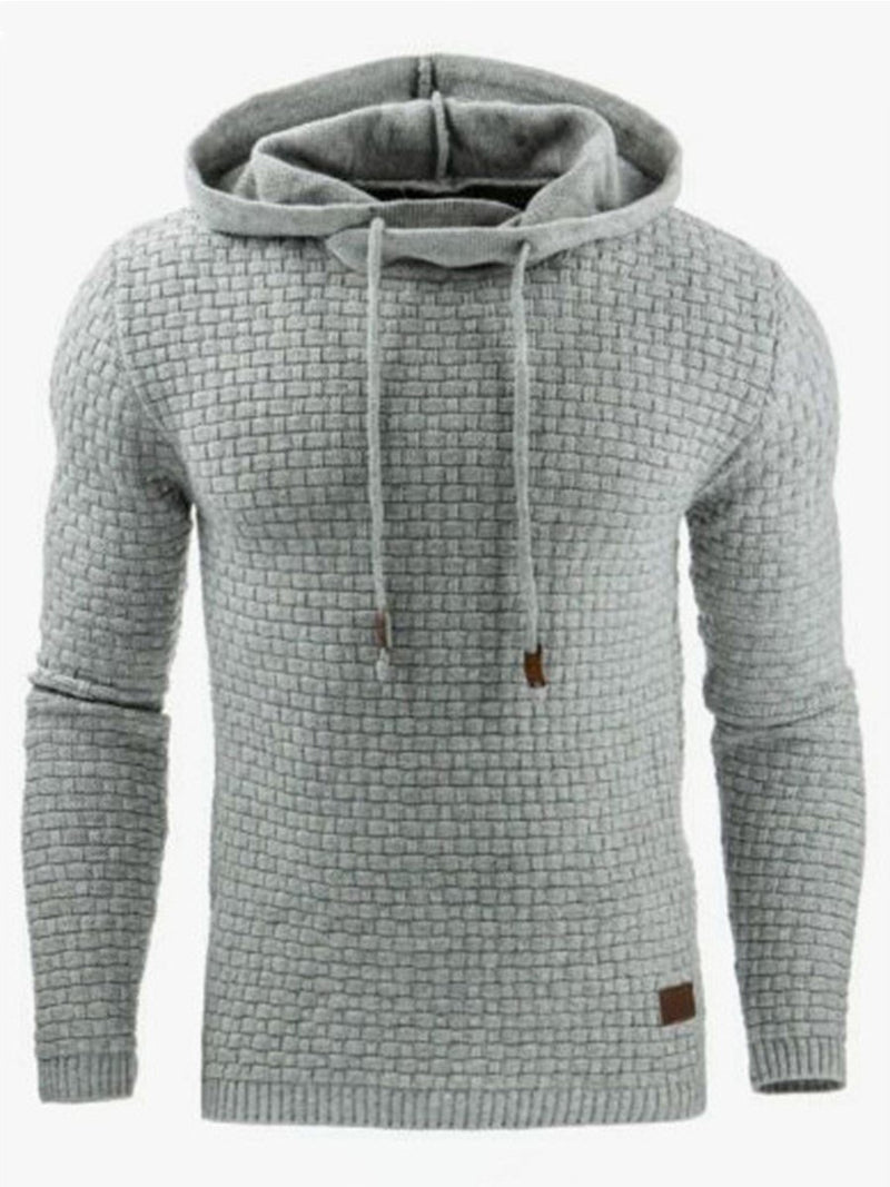 Plain Jacquard Casual Pullover Men's Hoodie