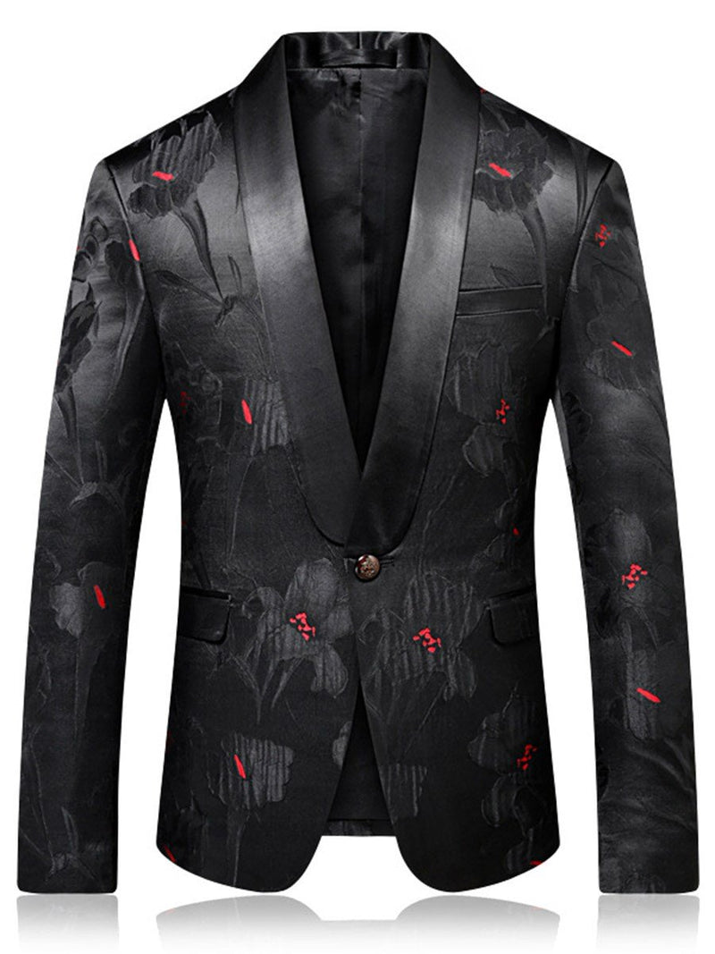 Slim Notched Lapel One Button Men's  Blazer