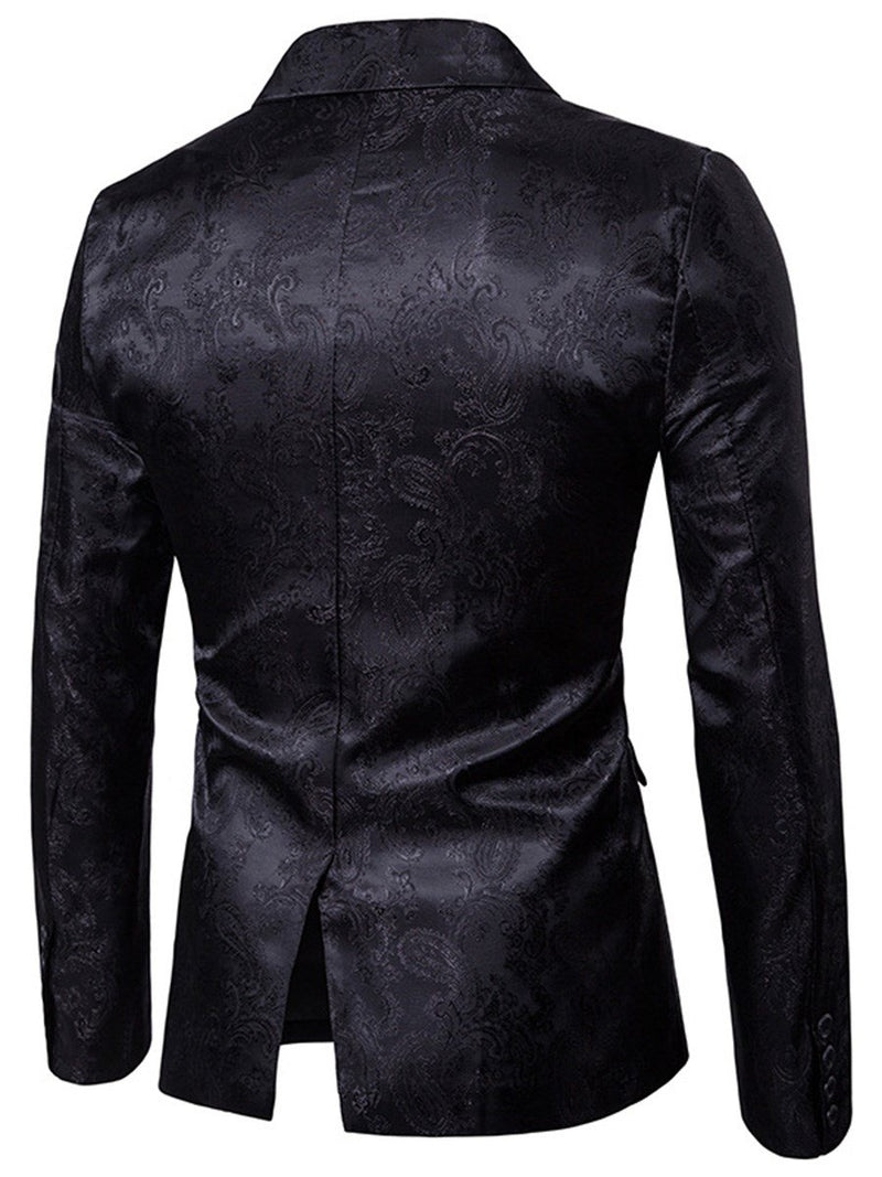 Lapel Vogue Print Slim Men's Blazer