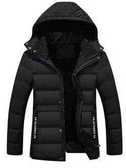 Men's Pure Color Slim Thicken Hooded Down Jacket