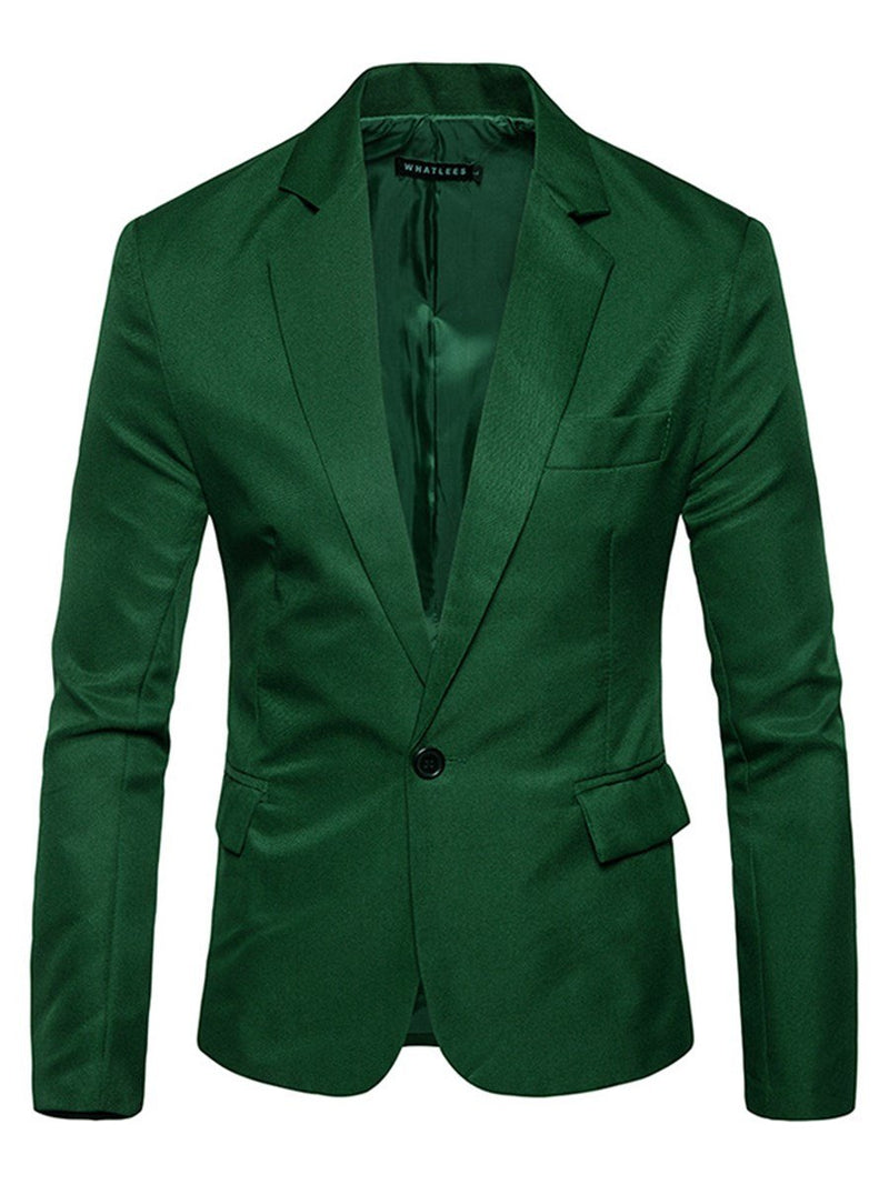 Men's Long Sleeve Slin Pure Color Blazer