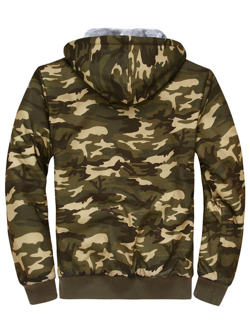 Camouflage Zipper Thicken Long Sleeve Men's Coat