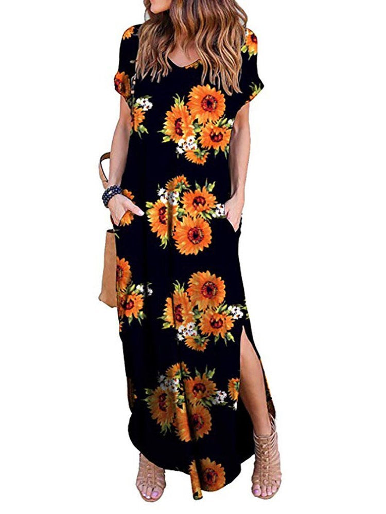 Short Sleeve Ankle-Length Split Regular Straight Dress