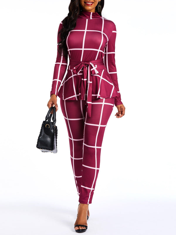 Falbala Plaid Full Length Pencil Pants Slim Jumpsuits