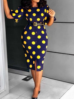 Round Neck Mid-Calf Print Pullover High Waist Dress