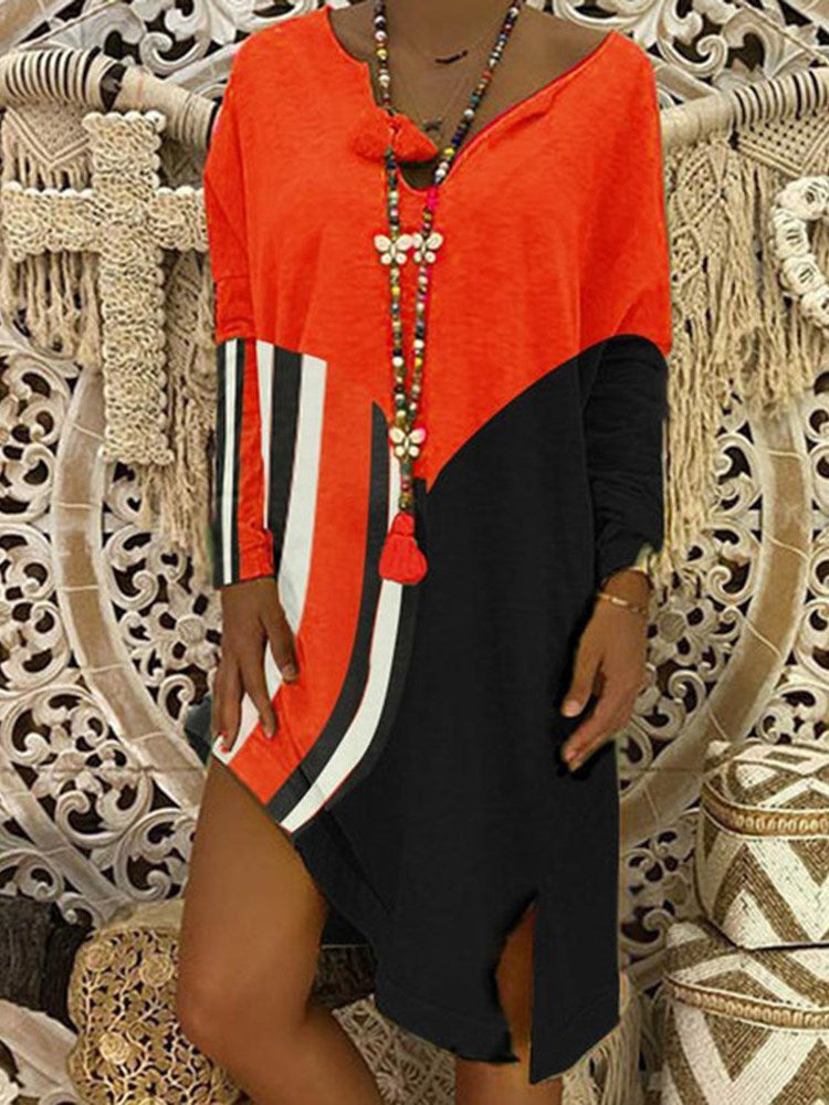 Long Sleeve Patchwork Knee-Length Casual Color Block Dress
