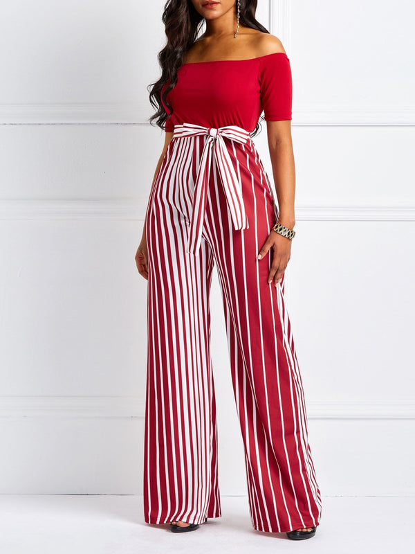 Lace-Up Full Length England High-Waist Wide Legs Jumpsuits