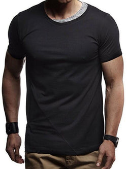 Round Neck Color Block Casual Short Sleeve Slim T-shirt