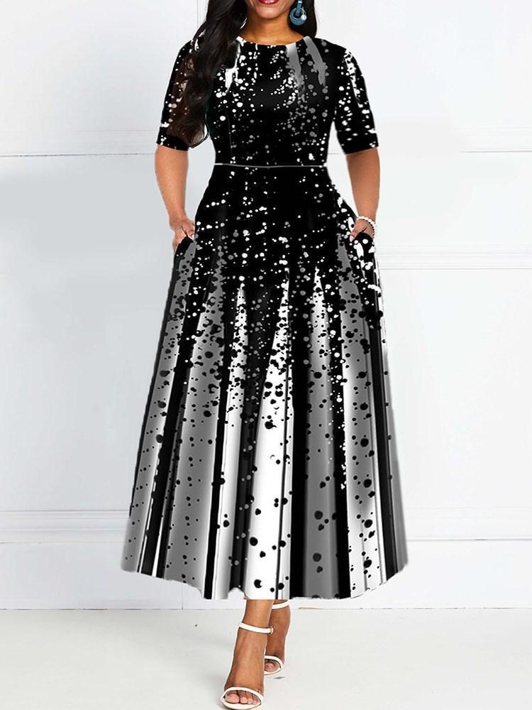 Print Half Sleeve Ankle-Length A-Line Standard-Waist Dress