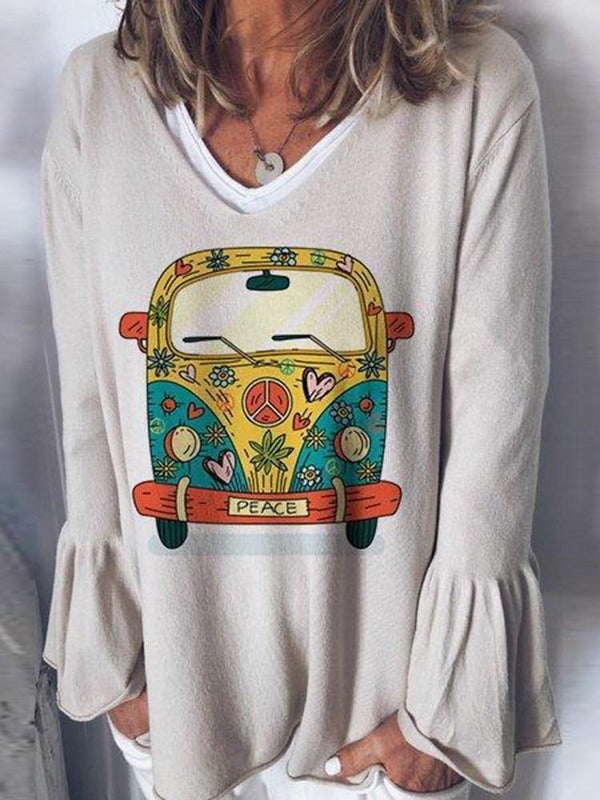 Cartoon Standard Long Sleeve Straight T-Shirt