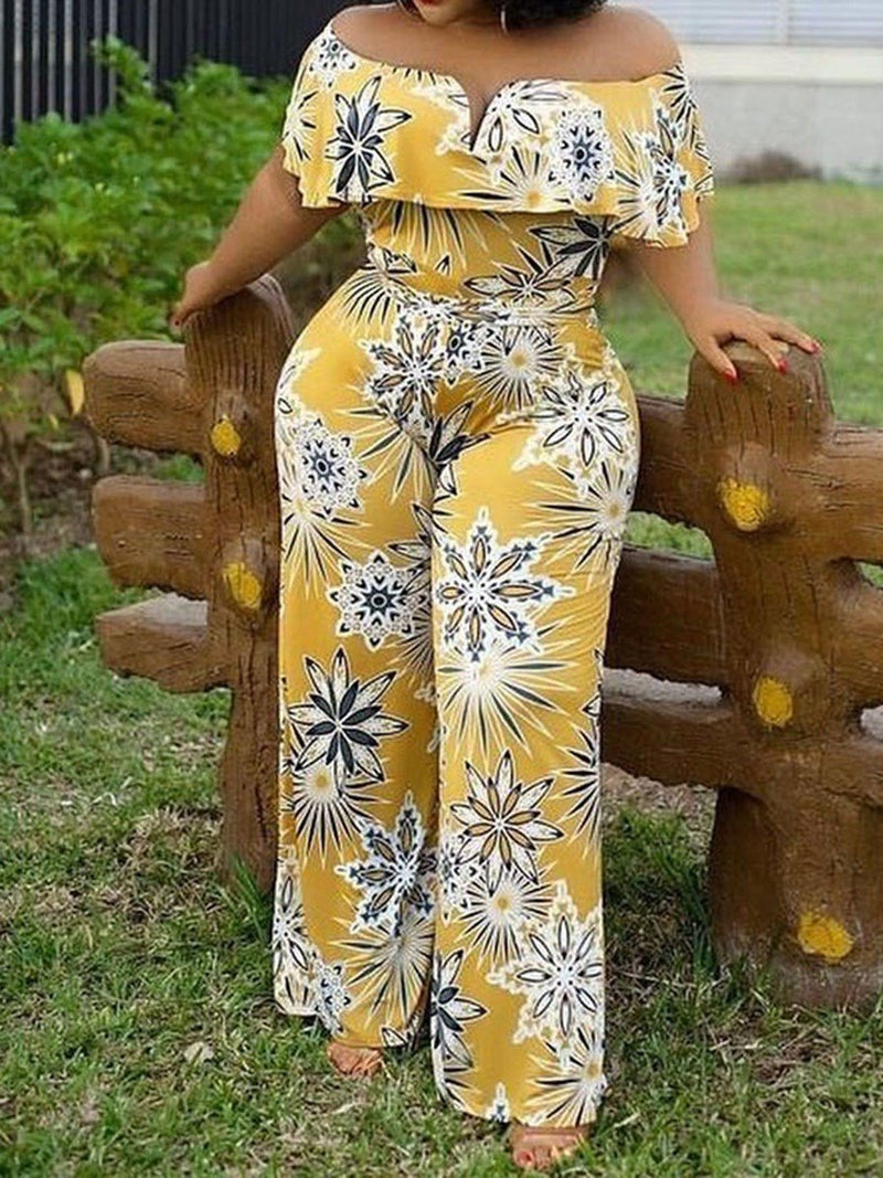 Full Length Print Floral Straight Slim Jumpsuit