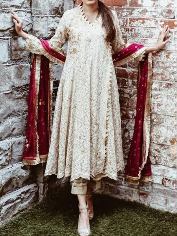 Ethnic Dress Lace Three-Quarter Sleeve V-Neck A-Line Western Dress Diwali