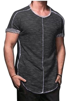 Round Neck Plain Patchwork Short Sleeve Slim T-shirt