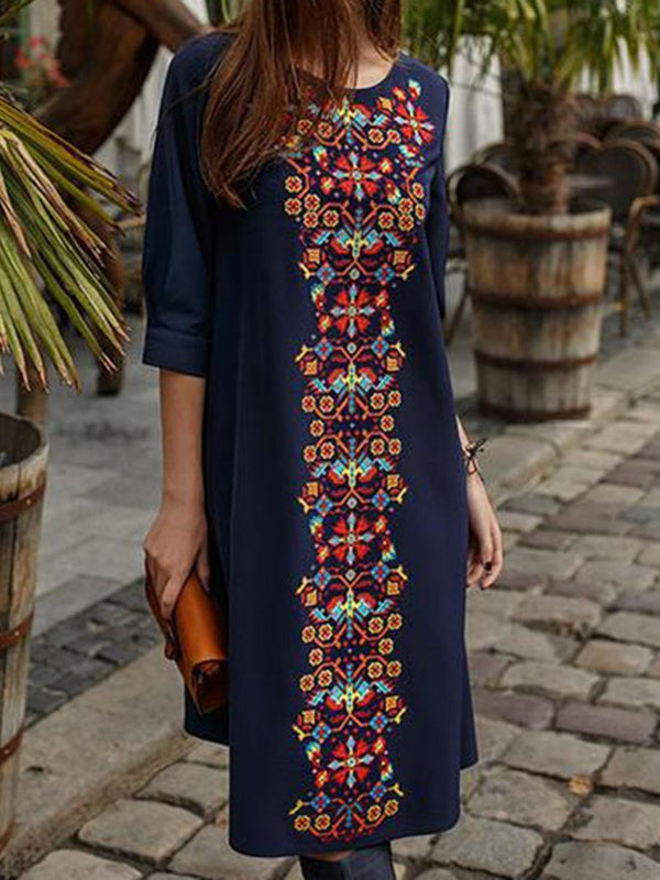 Round Neck Half Sleeve Mid-Calf Straight Casual Dress