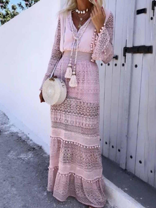 Long Sleeve V-Neck Tassel A-Line High Waist Dress