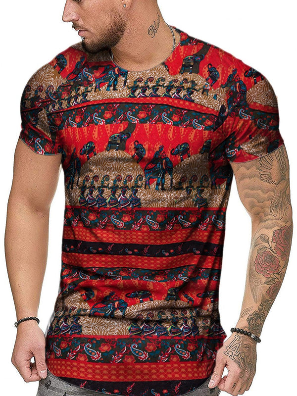 Round Neck Color Block Print Short Sleeve Slim T-shirt