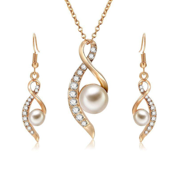 Pearl Diamante Earrings Necklace 2 Piece Jewelry Sets
