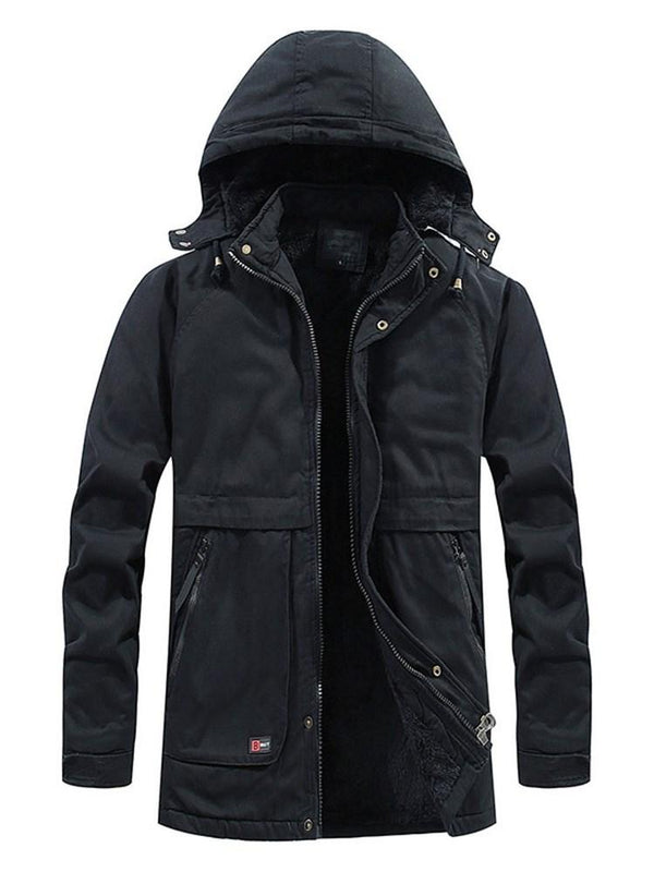 Patchwork Plain Hooded Zipper European Down Jacket