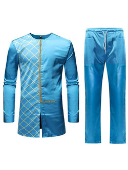 Plaid Print African Ethnic Style Spring Outfit MEN'S SUITS