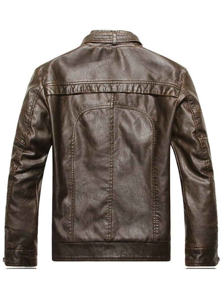 Plain Stand Collar Standard Straight Rock Leather Jacket