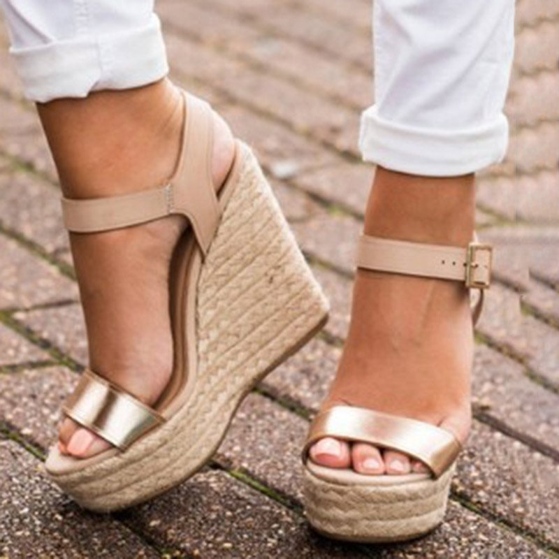 Wedge Heel Open Toe Ankle Strap Buckle Casual Plain Sandals