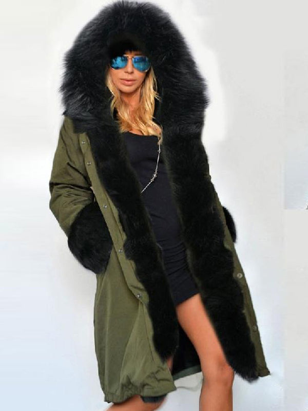 Mid-Length Hooded Artificial Fur Patchwork Women's Overcoat