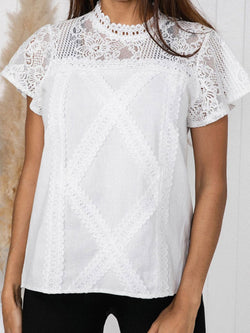 Lace Plain Stand Collar Standard Short Sleeve Blouse