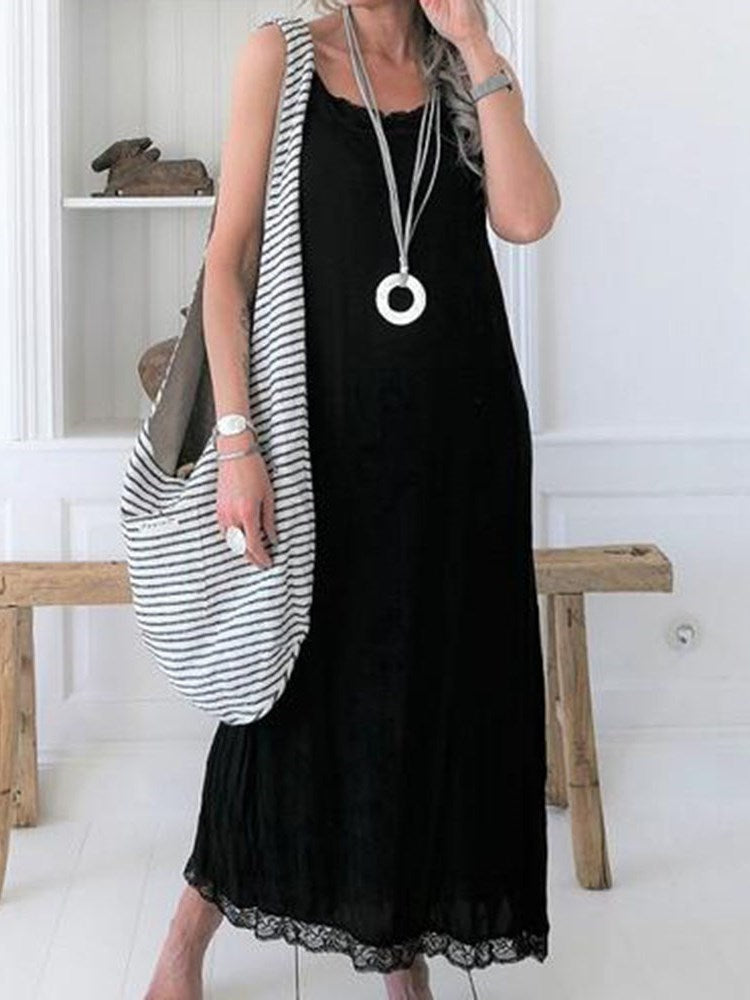 Sleeveless Ankle-Length Patchwork Expansion Pullover Dress