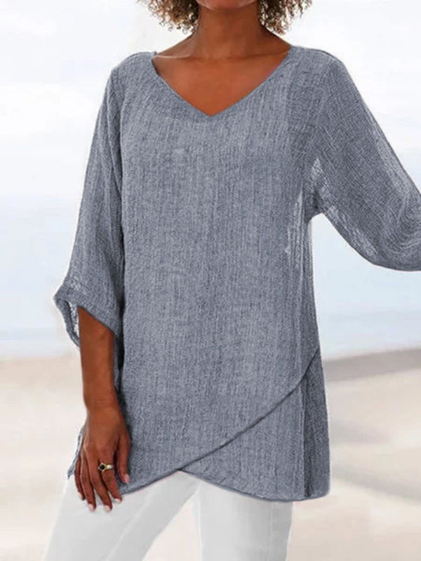 V-Neck Three-Quarter Sleeve Mid-Length Casual Straight T-Shirt
