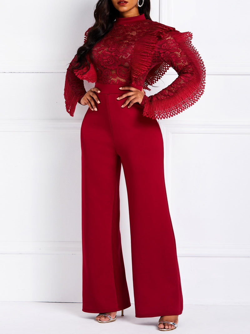 Plain Falbala Full Length Straight Slim Jumpsuits