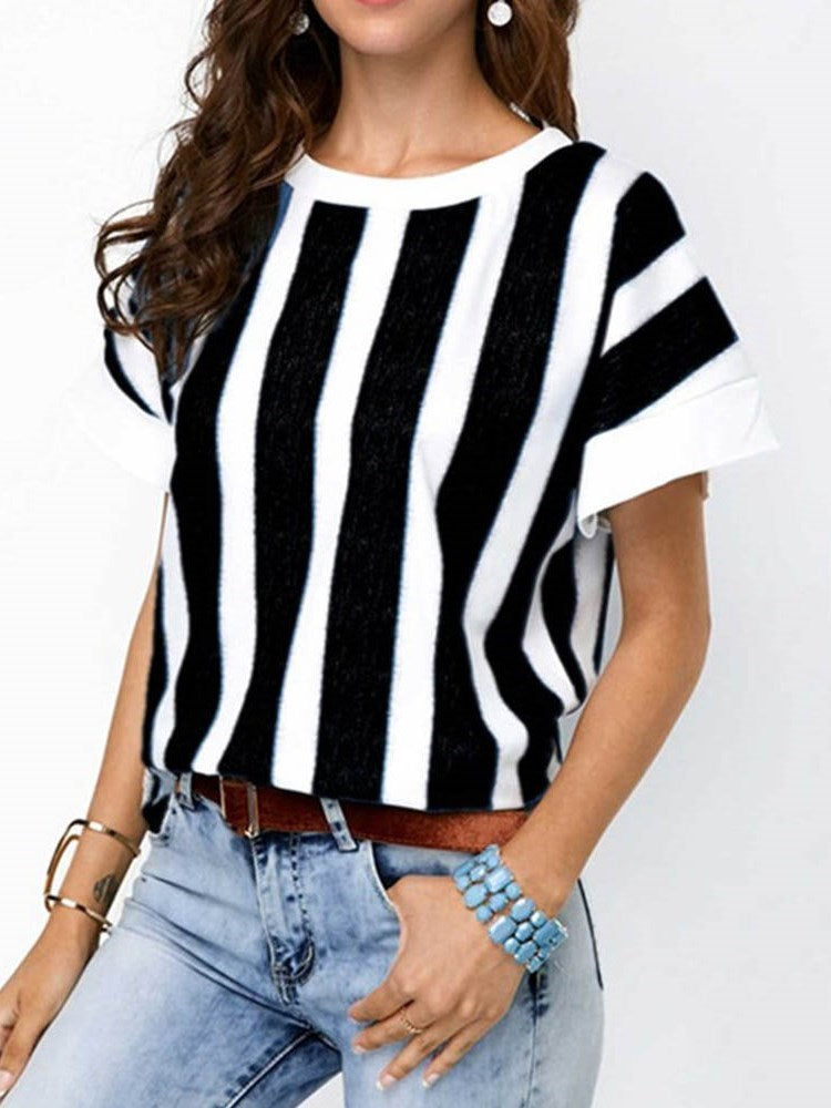 Stripe Short Sleeve Round Neck Slim Casual T-Shirt