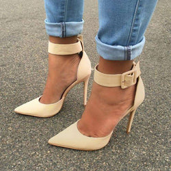 Buckle Pointed Toe Stiletto Heel 10cm Professional Thin Shoes