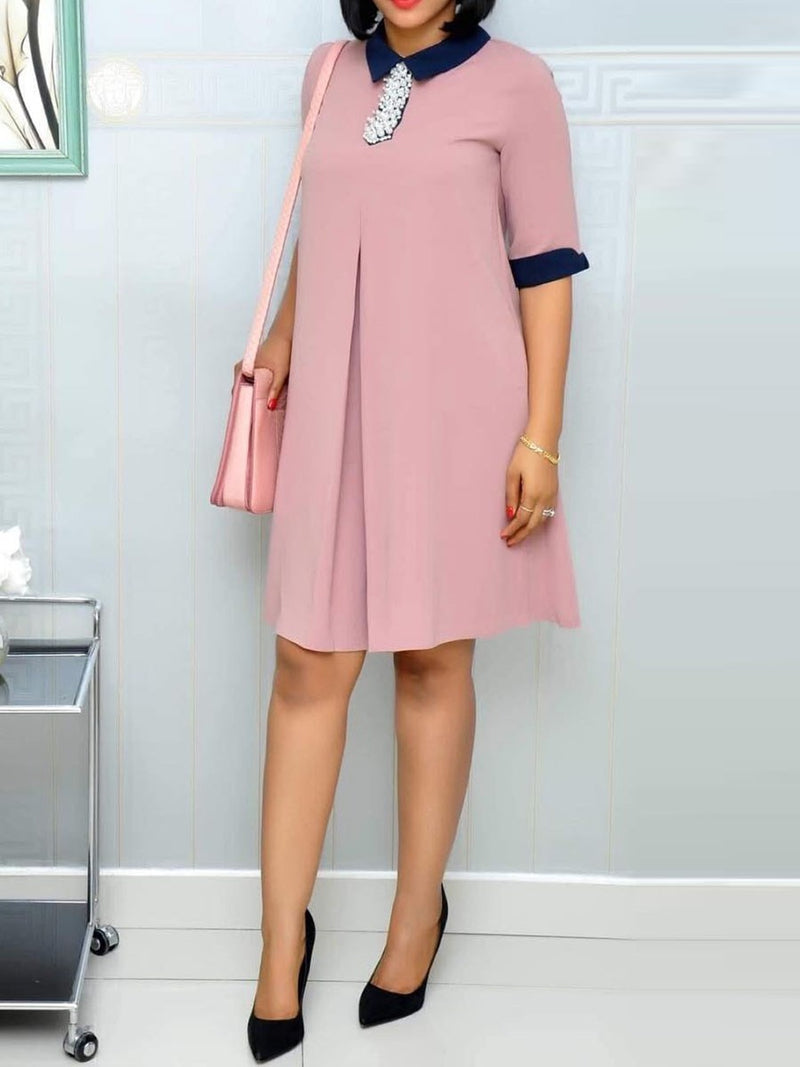Knee-Length Half Sleeve Pullover A-Line Dress