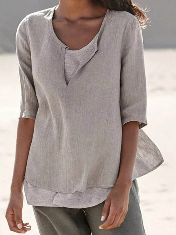 Patchwork Plain Round Neck Half Sleeve Standard Blouse