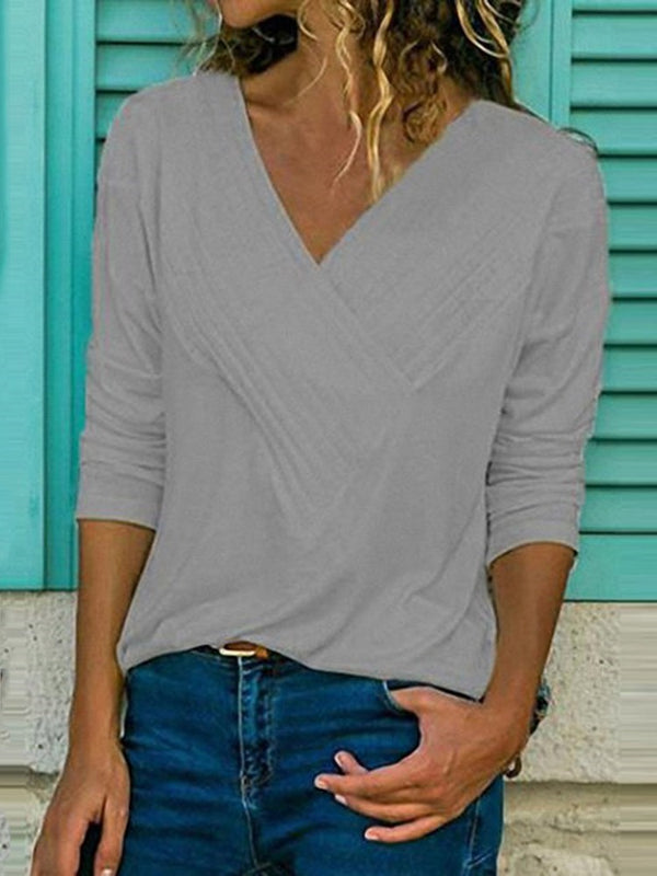 V-Neck Long Sleeve Plain Casual Slim T-Shirt