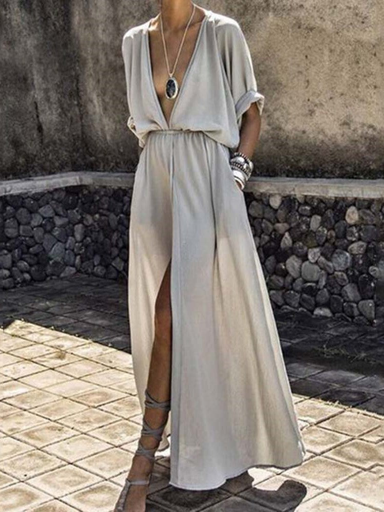Ankle-Length Half Sleeve V-Neck Mid Waist A-Line Dress