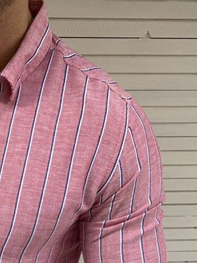 Casual Stripe Button Spring Slim Shirt
