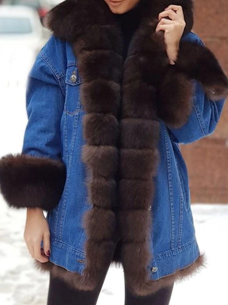Regular Mid-Length Color Block Loose Thick Faux Fur Overcoat
