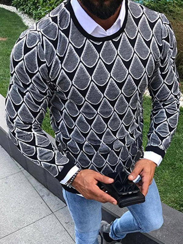 Round Neck Standard Print Winter Casual Sweater