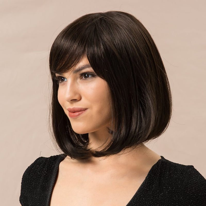 Straight Human Hair Blend Wigs Capless Women 130% Wigs