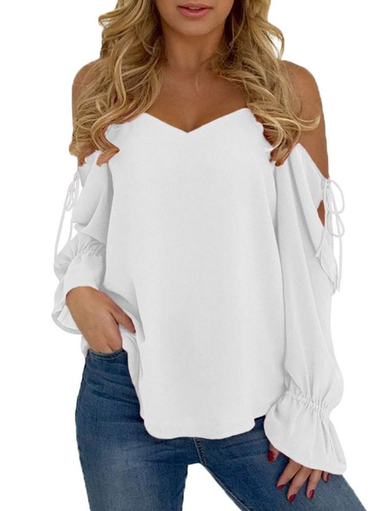 Lace-Up Flare Sleeve Plain Long Sleeve Standard Blouse