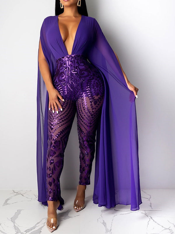 See-Through Full Length Party/Cocktail Slim Pencil Pants Jumpsuit
