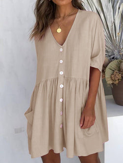 Above Knee Button V-Neck A-Line Single-Breasted Dress
