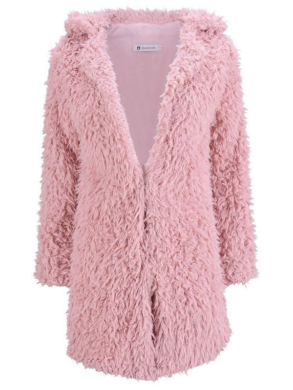 Faux Fur Solid Color V-Neck Overcoat