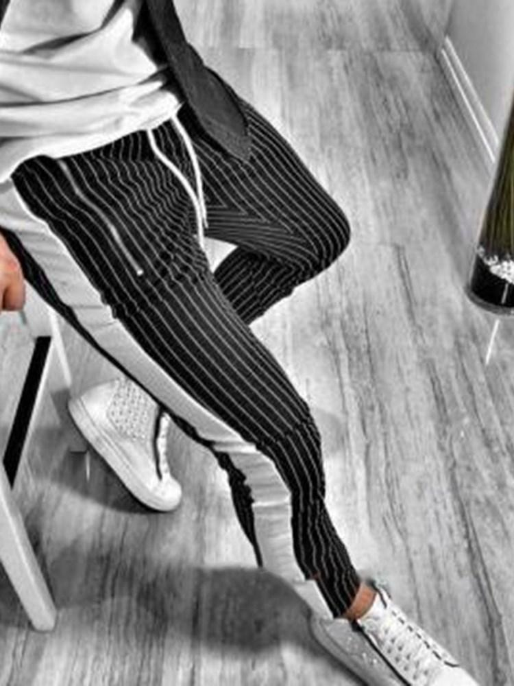 Stripe Pocket Fall Casual Casual Pants