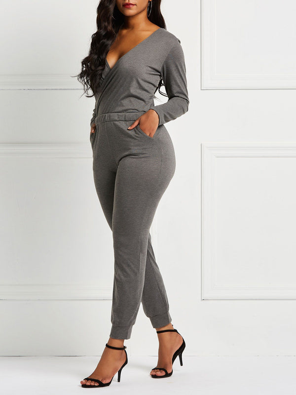 Plain Full Length Fashion Pencil Pants Slim Jumpsuits