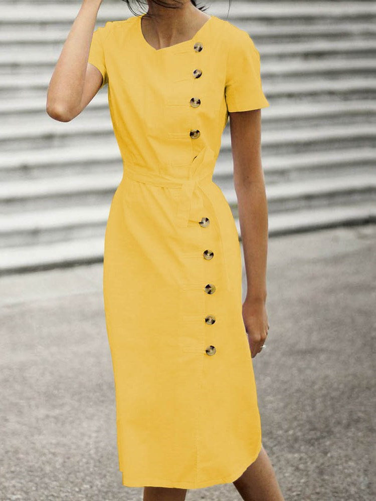 Short Sleeve Round Neck Button Casual Pencil Dress